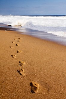 Testimonials . Library Image: Footsteps in Sand
